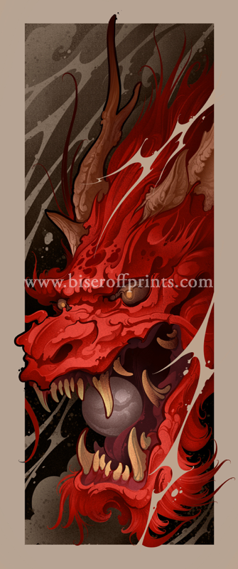 Red adragon tattoo print