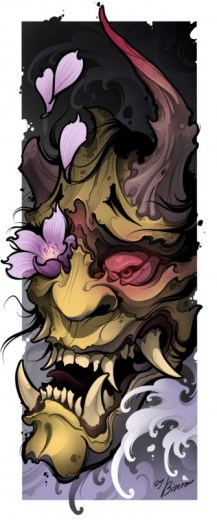 Green Hannya tattoo print